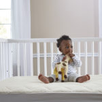Sealy Quilted Fitted Crib Mattress Pad with Organic Cotton Top - White