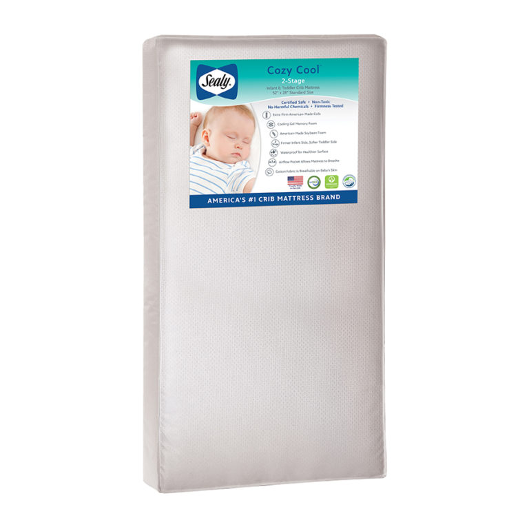 Sealy Cozy Cool Hybrid 2-Stage Coil & Gel Crib Mattress - White