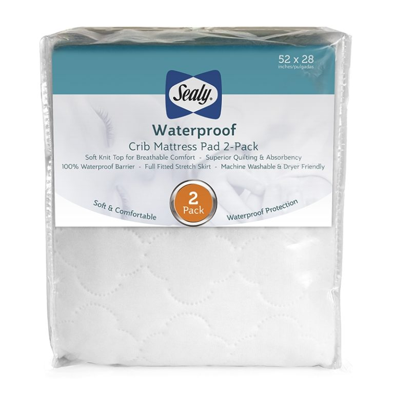 Sealy Waterproof Fitted Crib Mattress Pad, 2 Pack - White