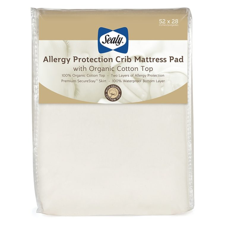 Sealy Allergy Protection Fitted Crib Mattress Pad with Organic Cotton Top - White