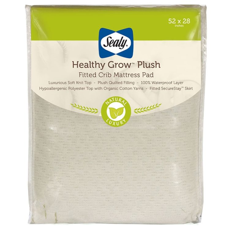 Sealy Healthy Grow Plush Fitted Crib Mattress Pad - White