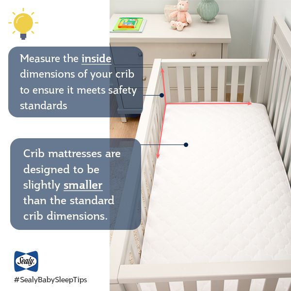 crib mattress laying inside crib with callouts showing proper fitting and sizing.
