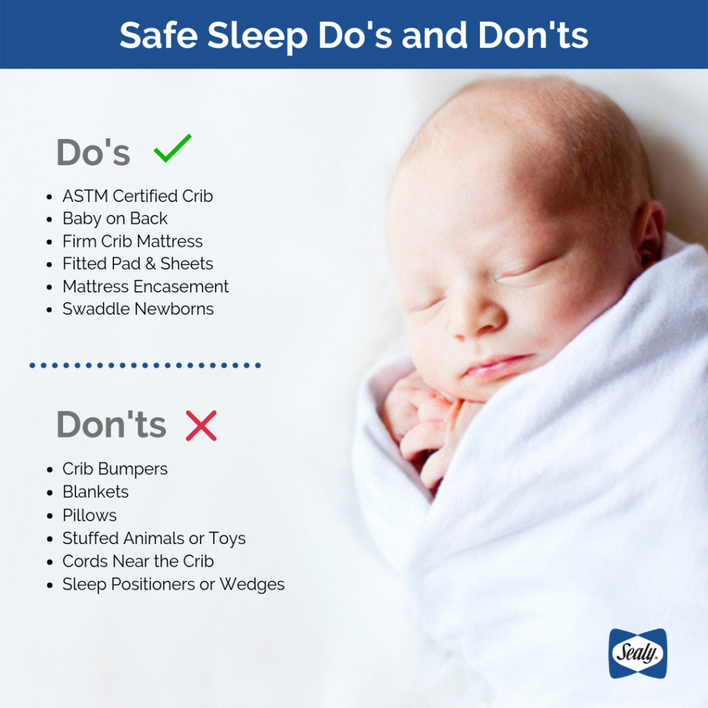 Informational graphic explaining the Do's and Dont's of Safe Sleeping with a picture of baby sleeping in a swaddle.