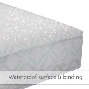 Close up picture of a crib mattress showcasing water droplets remaining on the surface of the mattress.