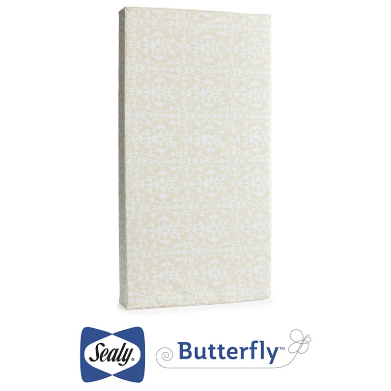 Sealy Butterfly Waterproof Ultra Firm Comfort Crib and Toddler Mattress